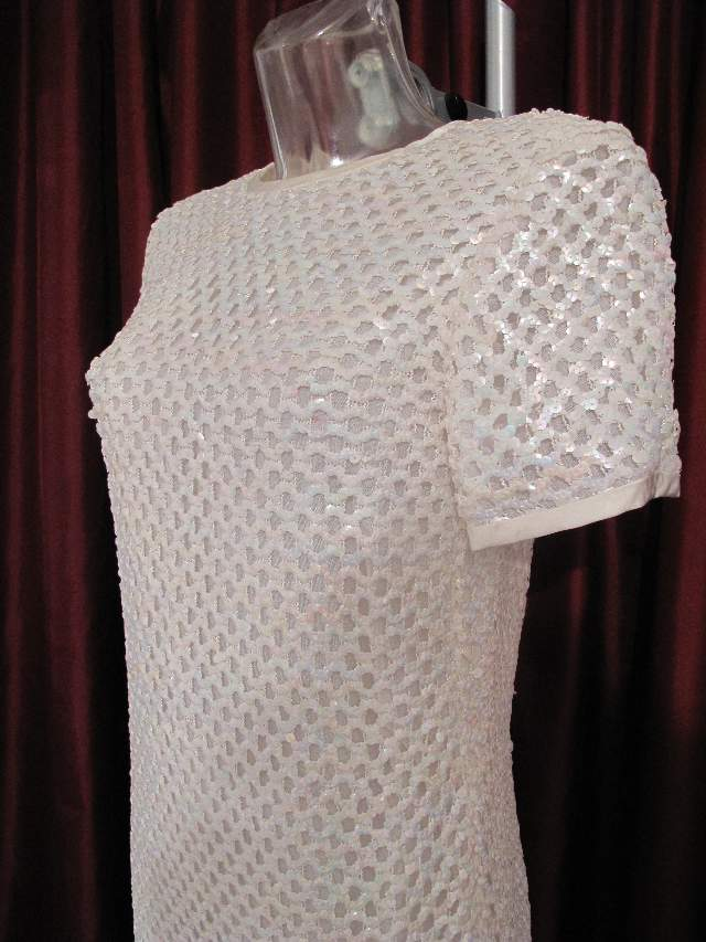1960 S Opalescscent Sequin Chain Mail Mini Vintage Wedding Dress Susan Small